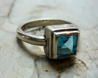 Sterling Silver and Topaz Ring, Blue Topaz Ring, Square Stone Ring, December Birthstone Ring, Blue Stone Ring, Sagittarius Ring FURP2716BT