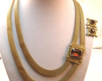 Continental mesh necklace and earring set in gold and topaz