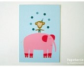 Postcard PINK ELEPHANT Greeting Card by Maedchenwahn