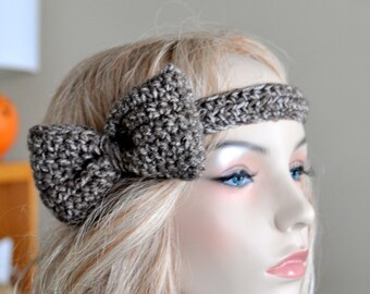 Big Bow Headband Crochet Bow Headwrap CHOOSE COLOR Birch Brown Natural Crochet Headband Girly Cute Adjustable Gift under 25