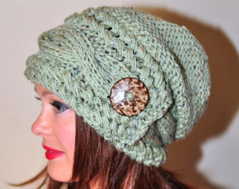 Women Hat Slouchy Hat Slouch Beanie Button Hat Hand Knit Winter Adult Hat CHOOSE COLOR Sage Green Chunky Gift