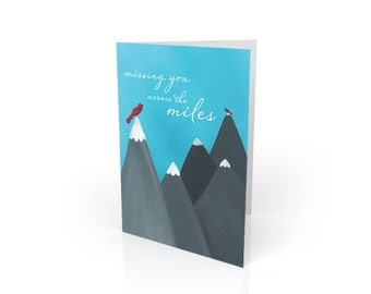 Long Distance Card ~ Missing You Across the Miles Blank Greeting Card