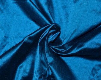 Silk Dupioni in  Teal with black shimmer, Extra wide 54 inches, Half yard - DEX 199