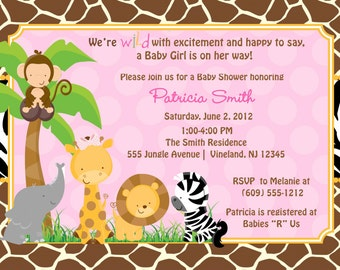 Safari Jungle Animals Baby Shower Invitation  - DIY Print Your Own - Matching Party Printables also available