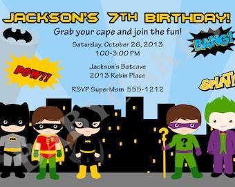 Batman vs villains Birthday Invitation superhero birthday party batman birthday batman invitation invite superhero invitation