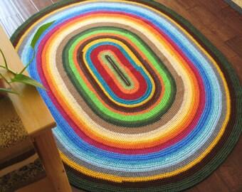 Multi Color Oval Rug / Floor Mat 65X52