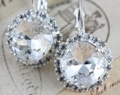 Swarovski Crystal Earrings Clear White Bridal Earrings Bridesmaids Earrings Silver Earrings Leverback Earrings Wedding Earrings Dangle