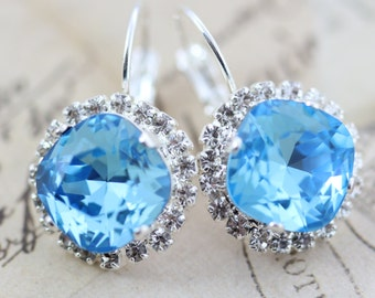 Aquamarine Earrings Aquamarine Necklace March Birthstone Swarovski Crystal Earrings Bridal Blue Earrings Also Avail As Clip On Earrings