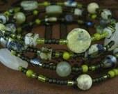 Beaded Memory Wire Bracelet Multi Strand Lime and Avocado Wrapped Bracelet