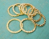 Connector Link Ring  Textured Hamered Gold Plated Open- 24mm-10pcs.