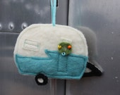Merry Camper - recycled felted wool - rear-view mirror ornament, gift tag, tree ornament, decoration - FREE shipping