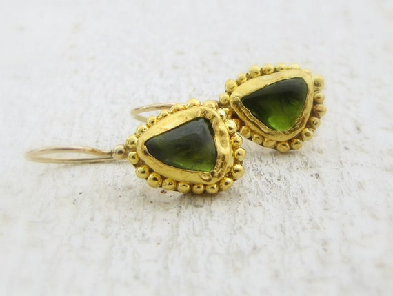 Pure Gold Peridot Earrings , Peridot Earrings , 24k Solid Gold Earrings OOAK Gold Earrings , Dangle Earrings , Stone Earrings