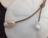THE ABBY Leather and Baroque Pearls Necklace
