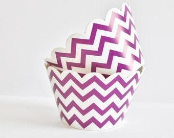 Chevron Cupcake Wrappers, Purple Chevron Cupcake Liners, Purple Zig Zag wrappers, Chevron Cupcake Cups, Wedding, Baby Shower, Birthday, 12