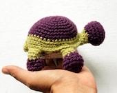 Turtle amigurumi purple crochet wool