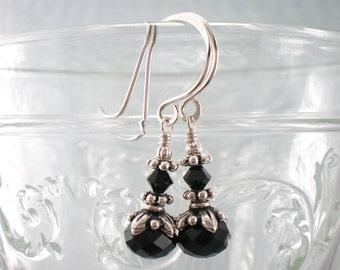 Small Black Crystal Drop Earrings in Silver