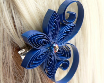 Hair Accessories Flowers, Navy Wedding Hair Clip, Marine Blue Wedding Hair Accessory