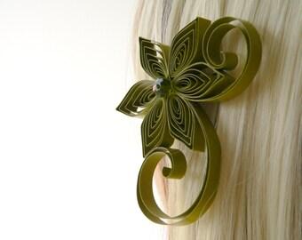 Olive Wedding Hair Clip, Olive Green Wedding Hair Accessory