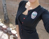 Olivia Paige - Black Sugar skull   Pin up cardigan sweather with hearts buttons