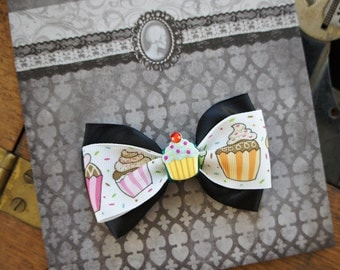 Olivia Paige - ROckabilly Pin up cupcake satin hair bow clip