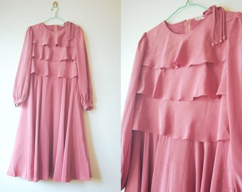 WoozWassVintage 1960s Silky Charm Pink Tiered Wide Flare Princess Gown Dress Size M