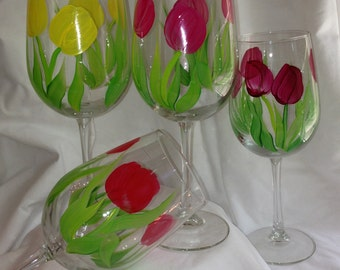 Hand painted wine glasses  tulips set of 4