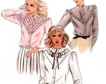 Butterick 3468 Vintage 80s Misses' Blouses Sewing Pattern - Uncut - Size 10