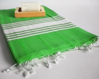 Shipping with FedEx - Bathstyle Turkish BATH Towel Handwoven Peshtemal - Green