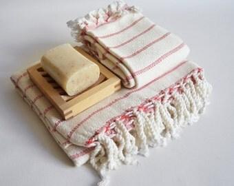 SET Turkish BATH Towel Peshtemal and Head-Hand Towel Peshkir - Very Soft Bamboo (Red striped) Beach, Spa, Swim, Pool Towels and Pareo