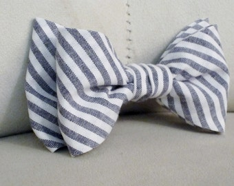 Men's Charcoal Gray Stripe Chambray Bow Tie Clip