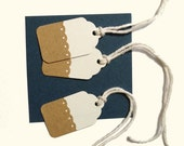 20 - 1.5in x .75in White and Kraft Brown Gift Tags, All Repurposed, Recycled Materials, Hand Punched