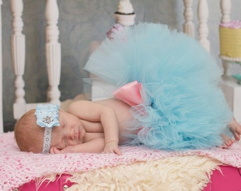 Lt Blue Newborn to 2t Tutu set with headband SEWN