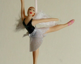 Angel Ballerina Ornament CUSTOMIZED to your costume Hand Sculpted in Clay