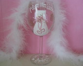 Future Bride Bachelorette Engagement Hand Painted Personalized Wine Glass Custom Glasses