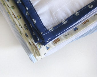 Muslin Swaddle Wraps, Burp Cloths, Cotton Gauze Muslin square (3 pack)- Boy themed burp cloths set, Security Blanket