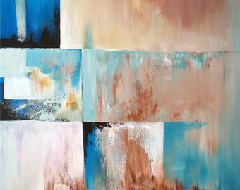 OOAK - Original Abstract Painting - by Nicole Cijs - Title: Helioblue Haze