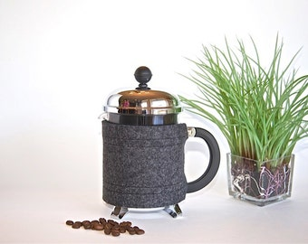 "French Press ""Bean Belt"" Coffee Cozy - 4-cup (17oz,0.5L) and 3-cup (12oz,.35L)"