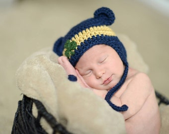 Notre Dame  Baby hat  for Newborn to 12 months Notre Dame Irish team colors