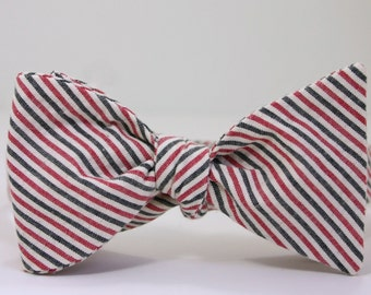 Red Black and White Seersucker Bow Tie