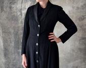 1910s Full Length Black Wool Jacket