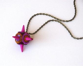 Spike Pendant Necklace - Hot Pink - Brick Stitch Beadwork