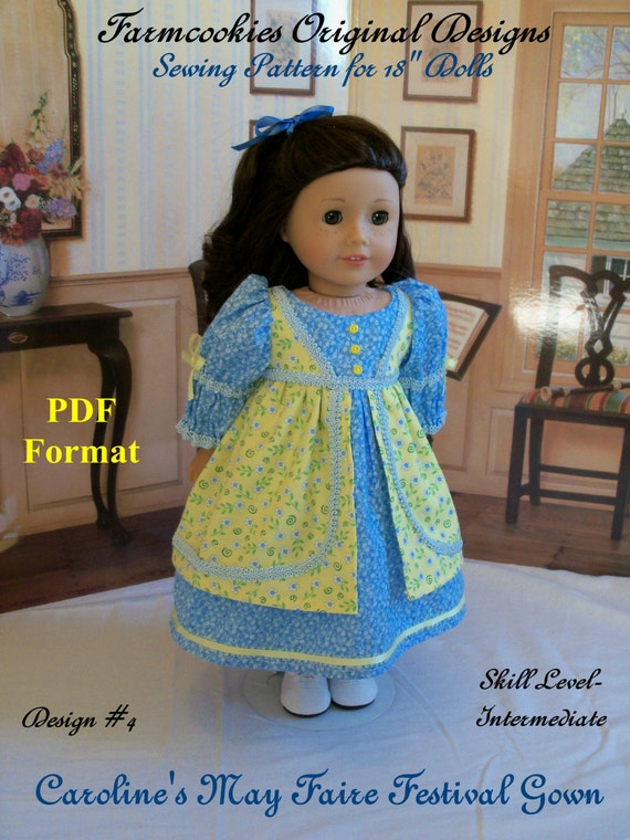 "PDF Sewing Pattern for American Girl®: Regency May Faire Festival Gown/ Sewing Pattern for 18"" Dolls"
