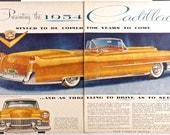 1954 CADILLAC CONVERTIBLE Vintage Double-Page Full Color Advertisement, 1954