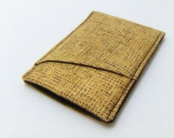 "Mens Sleek Wallet / ""Burlap"" fabric - brown wallet - pocket wallet - card case - money clip - thin wallet for men"