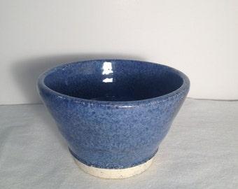 Blue Stoneware Salsa-Fruit-Dip Bowl
