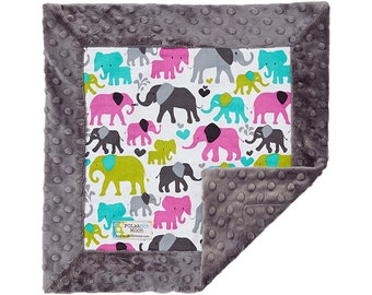 Security Blanket, Lovey Blanket, Minky Blanket, Minky Lovey, Blanket Girl Baby, Baby Girl Blanket, Elephant Blanket, Elephant Baby Shower