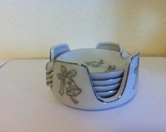 Vintage 25th Anniversary Ashtray Set, porcelain