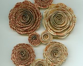 Autumn Inspired Handmade Spiral Paper Flowers Rust and Yellow Colors