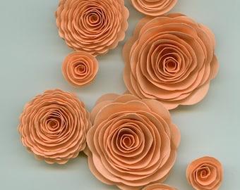 Coral Orange Handmade Spiral Paper Flowers