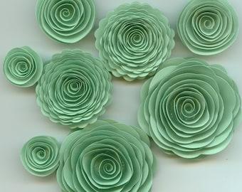 Light Green Handmade Spiral Rose Paper Flowers